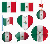 Mexico flag set of 8 items vector — Stock Vector
