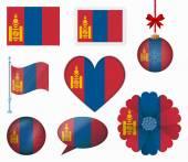 Mongolia flag set of 8 items vector — Stock Vector