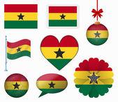 Ghana flag set of 8 items vector — Stock Vector