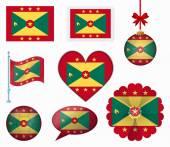 Grenada flag set of 8 items vector — Stock Vector