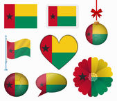 Guinea Bissau flag set of 8 items vector — Stock Vector