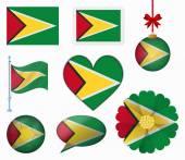 Guyana flag set of 8 items vector — Stock Vector