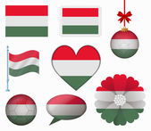 Hungary flag set of 8 items vector — Stock Vector