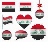 Iraq flag set of 8 items vector — Stock Vector