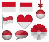 Indonesia flag set of 8 items vector — Stock Vector