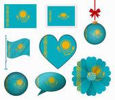 Kazakhstan flag set of 8 items vector — Stock Vector