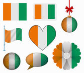 Ivory Coast flag set of 8 items vector — Stock Vector