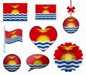 Kiribati flag set of 8 items vector — Stock Vector