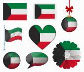Kuwait flag set of 8 items vector — Stock Vector