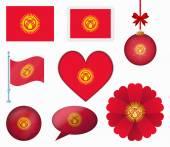 Kyrgyzstan flag set of 8 items vector — Stock Vector