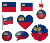 Liechtenstein flag set of 8 items vector — Stock Vector