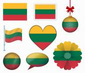 Lithuania flag set of 8 items vector — Stock Vector