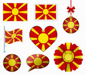 Macedonia flag set of 8 items vector — Stock Vector