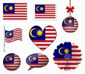 Malasya flag set of 8 items vector — Stock Vector