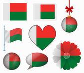 Madagascar flag set of 8 items vector — Stock Vector