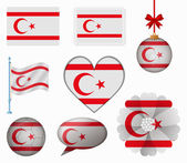 Northern Cyprus flag set of 8 items vector — Stockvektor