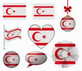 Northern Cyprus flag set of 8 items vector — Wektor stockowy