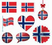 Norway flag set of 8 items vector — Wektor stockowy