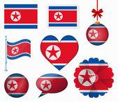 North Korea flag set of 8 items vector — Stock Vector