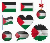 Palestine flag set of 8 items vector — Stock Vector