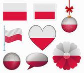 Vlajka Polsko sada 8 položek vektoru — Stock vektor
