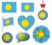 Pau flag set of 8 items vector — Stock Vector