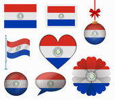 Paraguay flag set of 8 items vector — Stock Vector