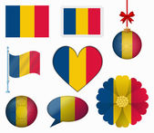Romania flag set of 8 items vector — Stock Vector