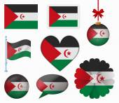 Sahrawi Arab Democratic Republic flag set of 8 items vector — Stock Vector