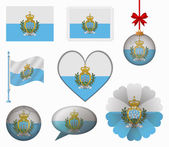 San Marino flag set of 8 items vector — Stock Vector