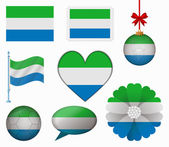 Sierra Leone flag set of 8 items vector — Stock Vector