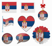 Serbia flag set of 8 items vector — Stock Vector