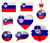Slovenia flag set of 8 items vector — Stock Vector