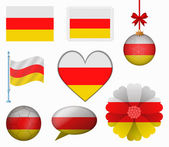 South Ossetia flag set of 8 items vector — Stock Vector