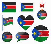 South Sudan flag set of 8 items vector — Stock Vector