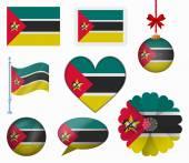 Mozambique flag set of 8 items vector — Stock Vector