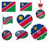 Namibia flag set of 8 items vector — Stock Vector