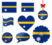 Nauru flag set of 8 items vector — Stock Vector