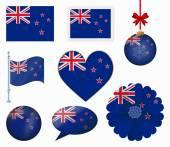 New Zealand flag set of 8 items vector — Stock Vector
