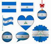Nicaragua flag set of 8 items vector — Stock Vector