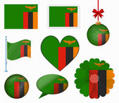 Zambia flag set of 8 items vector — Stock Vector