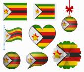 Zimbabwe flag set of 8 items vector — Stock Vector