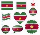Suriname flag set of 8 items vector — Stock Vector