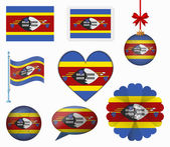 Swaziland flag set of 8 items vector — Stock Vector