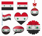 Syria flag set of 8 items vector — Stock Vector