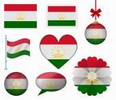 Tajikistan flag set of 8 items vector — Stock Vector