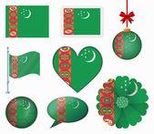 Turkmenistan flag set of 8 items vector — Stock Vector