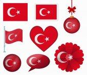 Turkey flag set of 8 items vector — Stock Vector