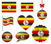 Uganda flag set of 8 items vector — Stock Vector