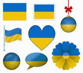 Ukraine flag set of 8 items vector — Stock Vector